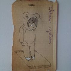 Little bear by MarshMade on Etsy Original illustration on vintage book page