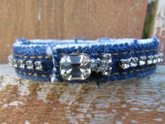 Bracelet - Diamonds and Denim - Recycled Upcycled Blue Jeans with Vintage Rhinestones