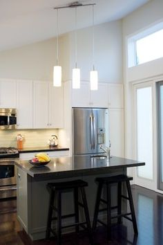 Modern Sloped Ceiling Lighting Kitchen Design Ideas Pictures Remodel And Decor Small Kitchens
