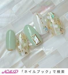 Korean Nail Art, Korean Nails, Green Nail Designs, Nail Art Designs, Cute Nails, Pretty Nails, Art Deco Nails, Asian Nails, Acrylic Nail Shapes