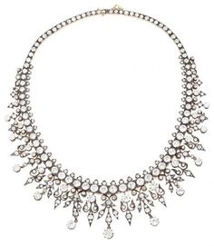 A diamonds French choker necklace. Circa 1864-1888 | www.balclis.com #diamonds #necklace