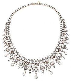 A diamonds French choker necklace. Circa 1864-1888   www.balclis.com #diamonds #necklace