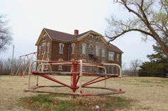 Brookville, Kansas School - The more than century old school in Brookville continues to stand, though students last attended here in 1996. Kathy Weiser, March, 2009.