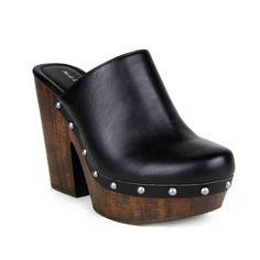 Go for the vintage 70's look with comfortable and cute wood effectplatform clog. Wood Effect Platform Women's Clogs Color options: Black, Cognac Style: Clogs Material: faux leather, Pu upper, 4.75 inc