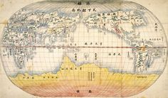 """Map produced in the late 18th century in Korea, based on the Chinese Wanguo Quantu (Complete  Map of All Nations) included in Jikbangoegi, which was written by an Italian Jesuit missionary to  China, Giulio Aleni. As with the Kunyu Wanguo Quantu (A Map of the Myriad Countries of the  World) by Matteo Ricci in 1602, East Asia in this map is centered around China. To indicate the East  Sea, this map uses """"Little East Sea"""" instead of """"Sea of Japan."""""""