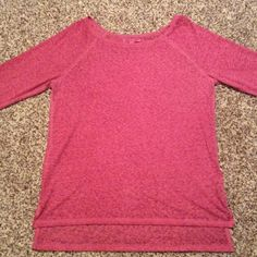 American Eagle 3/4 length sleeve top Worn once.  Sheer fabric.  Works well with a tank top underneath.  Polyester cotton blend.  Embroidered logo on the hem. American Eagle Outfitters Tops