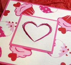 Cupcake lovers bright pink Valentines day card by SandrasCardShop, $5.50