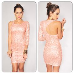 Sexy Pink Sequined Open Back Mini Dress on Luulla