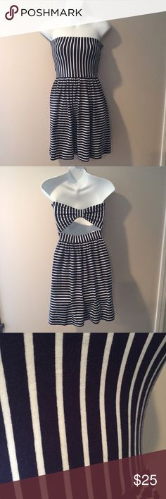 """🆕Ocean Drive Clothing strapless dress. Size small 🆕Ocean Drive Clothing navy and white strapless dress. Bow accent in back. Size small 28"""" long. Cotton with 5% spandex. Ocean Drive Dresses"""