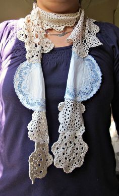 Doily Scarf.  Originally seen in June-July 2012 Mary Janes Farm magazine but I can't find an online picture. This is somewhat similar.