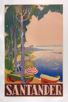 This vertical French travel poster features a tree lined beach full of umbrellas and rowboats with seagulls and sailboats out at sea. The beautiful Vintage Poster Reproduction is perfect for an office or living room. Beach Posters, Cool Posters, Retro Poster, Vintage Travel Posters, Retro Illustration, Illustrations, Santander Spain, Alicante, Tourism Poster