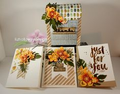liz holloway design: You Got Mail! + Giveaway, using botanical garden framelits die and English garden DPs 3D mailbox + coordinating cards.