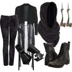 """""""Nazgul"""" by songforthedeaf on  Polyvore - I kind of love this, even if I wouldn't wear the whole thing"""