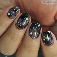 31 Day Challenge 18: Galaxy Nails using @girlybitscosmetics Into the Night #nails #nailart #galaxynails #nailidaily #love