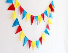 Circus birthday decoration, Red Blue Yellow felt banner, Circus party theme on Etsy, $12.00
