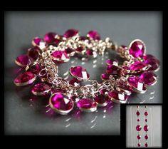 Zestaw biżuterii z ciemnoróżowych owalnych kryształków o różnej wielkości: bransoletka i kolczyki różowy | BIŻUTERIA \ Komplety ZESTAWY \ Biżuteria | Evangarda.pl