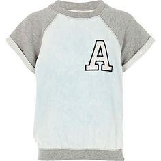 Girls blue varsity A top - tops - t-shirts / vests / tops - girls Slogan Tops, T Shirt Vest, Our Girl, Tees, Shirts, Girl Fashion, Mens Tops, Outfits, Shopping