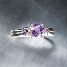 Natural Purple sapphire & amethysts 925 Silver ring all by EVGAD