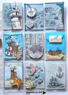 Lovely use of the Viva Decor seaside set of stamps. Pocket Pal, Pocket Cards, Pocket Scrapbooking, Scrapbook Paper, Carte Harry Potter, Project Life Karten, Mix Media, Art Trading Cards, Atc Cards
