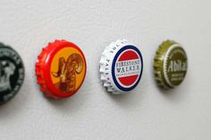 Magnets made of beer bottle caps. I've been saving my beer caps so I can make several sets of these. ;)