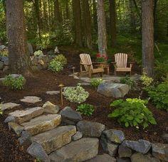 40 New Ideas backyard ideas sloped yard outdoor living Hillside Landscaping, Outdoor Landscaping, Backyard Patio, Outdoor Gardens, Wooded Backyard Landscape, Landscaping Design, Natural Landscaping, Natural Patio Ideas, Fire Pit Landscaping Ideas