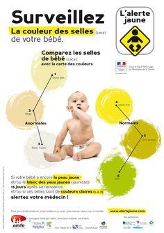 l'affiche de l'alerte jaune ! comparez la couleur des selles de votre bébé avec la carte des couleurs !