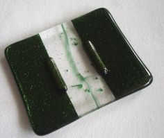 Glass Soap Dish in Shimmering Green handmade by BPR Designs.