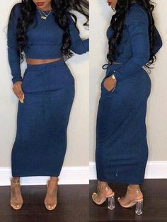 Casual Pocket Solid Two Piece Maxi Dress – bodyconest Maxi Outfits, Maxi Dresses, Two Piece Outfit, Two Piece Skirt Set, Blue Two Piece, Black Maxi, Dress Black, Jumpsuits For Women, Types Of Sleeves