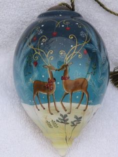 Ne'Qwa Art Reindeer Love Handcrafted Christmas ornament Sarah Summers