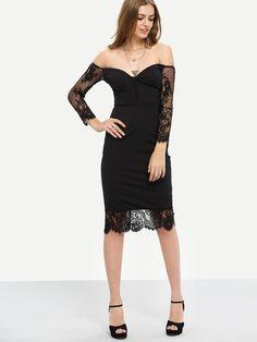 Black+Lace+Insert+Off-The-Shoulder+Sheath+Dress+17.99