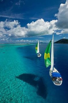 Sailing the azzure waters of Tahiti. The crystal clear ocean around Tahiti is a sailer's paradise. Places To Travel, Places To See, Travel Destinations, Dream Vacations, Vacation Spots, Romantic Vacations, Italy Vacation, Romantic Travel, Italy Travel