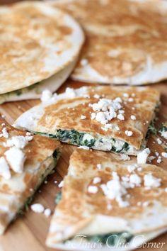 Spinach Pie Chicken Quesadillas - tinaschic.com
