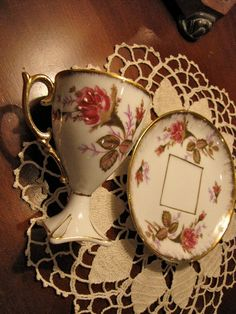 Vintage+Tea+Cup+and+Saucer+set+hand+painted++flower+by+SoupNStuff
