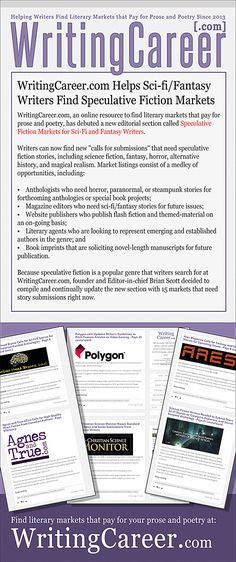 WritingCareer.com Helps Sci-fi/Fantasy Writers Find Speculative Fiction Markets—  WritingCareer.com, an online resource to find literary markets that pay for prose and poetry, has debuted a new editorial section called Speculative Fiction Markets for Sci-Fi and Fantasy Writers.