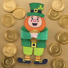 Free Kids St Patrick's Day Craft Ideas | Baker Ross | Creative Station Coin Crafts, St Patrick's Day Crafts, Glue Crafts, Crafts For Kids, Chocolate Gold Coins, Mini Craft, Craft Free, Glue Dots, Leprechaun