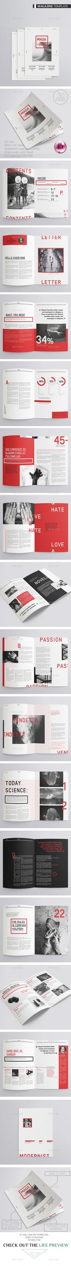 30 Pages Modernist Magazine Template InDesign INDD. Download here: https://graphicriver.net/item/modernist-magazine-30-pages/17348568?ref=ksioks