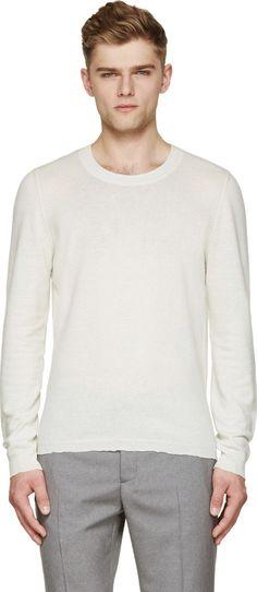 MAISON MARGIELA White Raw-Edge Sweater. #maisonmargiela #cloth #sweater