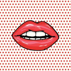 Cartoon glossy red lips and teeth over polka dot background векторная иллюстрация