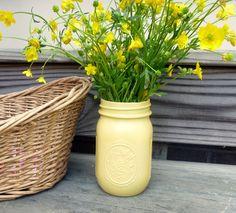 From Fresh Eggs Daily:  Yellow Painted Glass Ball Mason Jar Flower Bud Vase Farm Chic Rustic. $8.00, via Etsy.