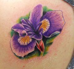 Tattoos.so » Realistic Iris Flower Tattoo on Upper Back