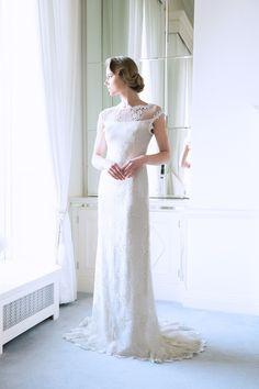 "96f237d7ea4 A-line Wedding Dresses   Picture Description The  Caroline"" Fine Lace Ivory  Bridal Gown is an A-line fine lace bridal style with a delicately beaded  sheer"