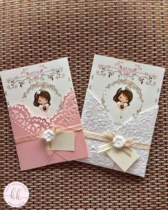Girl First Communion Invitation First Communion Cards, Holy Communion Invitations, First Communion Favors, Christening Invitations, Communion Cakes, First Holy Communion, Decoration Communion, Communion Centerpieces, Shower Centerpieces