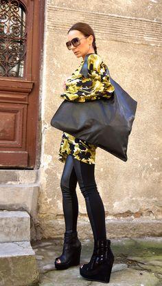 NEUE echt Leder schwarz Tasche qualitativ hochwertige von Aakasha