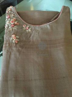 Get this custom made at Royal Threads Boutique. To place an order or for any inquiry feel free to whatsapp us @ or email us at royalthreadsbou This Pin was discovered by Nat Embroidery On Kurtis, Kurti Embroidery Design, Embroidery Neck Designs, Embroidery On Clothes, Embroidery Suits, Embroidered Clothes, Embroidery Fashion, Ribbon Embroidery, Embroidery Stitches