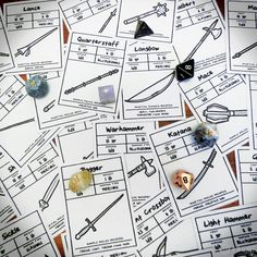 """r-n-w: """" Handy Quick-Reference Weapon Cards! Since posting about our Equipment Packs at the end of last year, we've been busy making a set of illustrated basic weapons item cards to go with them! Dungeons And Dragons Dice, Dungeons And Dragons Homebrew, Tabletop Rpg, Tabletop Games, Pathfinder Game, Dnd Character Sheet, Game Card Design, Dnd Classes, Play Therapy Techniques"""