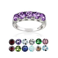 Glitzy Rocks Sterling Silver 5-stone Birthstone Ring (September/Created Sapphire Size 7), Women's, Blue