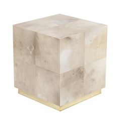 Vellum Parchment Cube Side Table MidCentury Modern, Organic, Lacquer, Metal, Parchment, Side Table by Birgit Israel