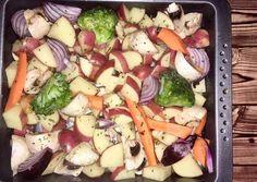 Tepsiben sült zöldségek 🥕🥦🥔🧀 recept foto Potato Salad, Potatoes, Ethnic Recipes, Food, Potato, Essen, Meals, Yemek, Eten