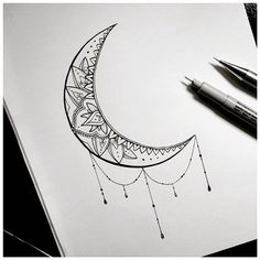 Decorated crescent moon