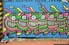 A graffiti wall painted by El Pez in Bogota, Colombia on July 9, 2010.
